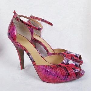 Nine West High Heels Pink Sneak Leather Pump 12M